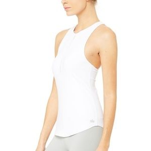 ALO Yoga Heart Center Fitted Tank in White